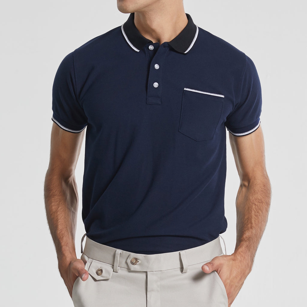 TAP POLO TEES - NAVY