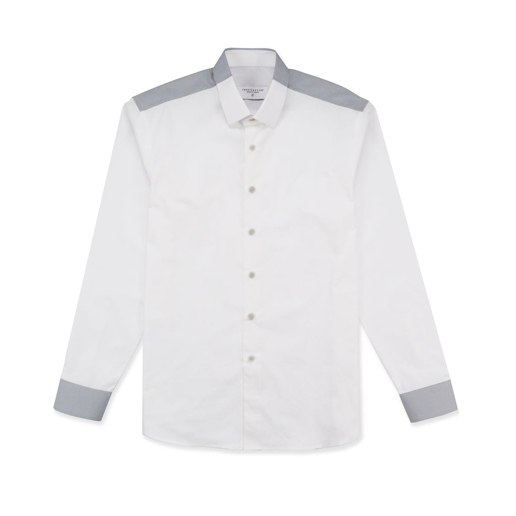 FLIP COTTON SHIRT - WHITE/GREY