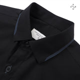 STITCH COLLAR SHIRT - BLACK