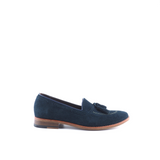 Navy Tasselled Suede Loafers