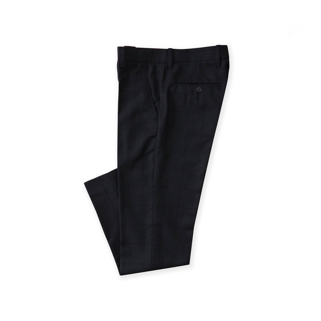 BRIT SQUARE WOOL PANTS - DARK BLUE