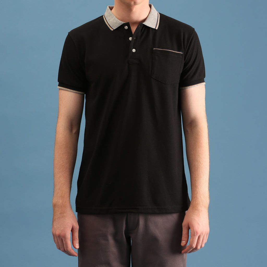 TAP POLO TEES - BLACK