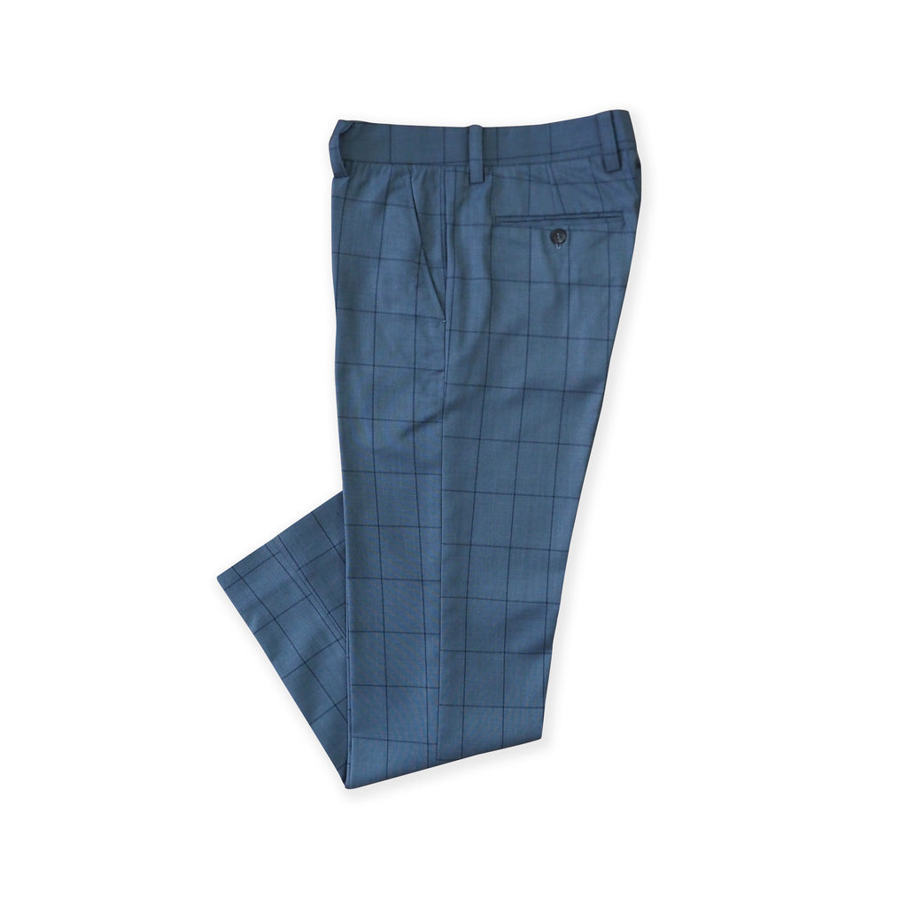 BRIT SQUARE WOOL PANTS - BLUE
