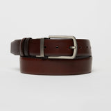 REVERSIBLE LEATHER BELT-CHESTNUT/CHOCOLATE