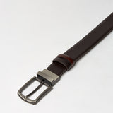 REVERSIBLE LEATHER BELT-CHOCOLATE/CHESTNUT