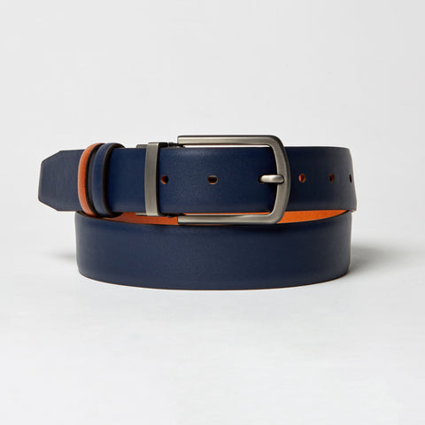 REVERSIBLE LEATHER BELT-NAVY/TAN