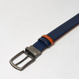 REVERSIBLE LEATHER BELT-TAN/NAVY