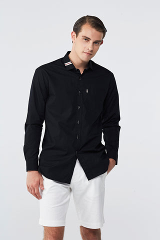 BLACK COTTON SHIRT WITH RIBBON COLLAR
