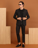 SQUARE PATTERN WOOL BLAZER - BLACK