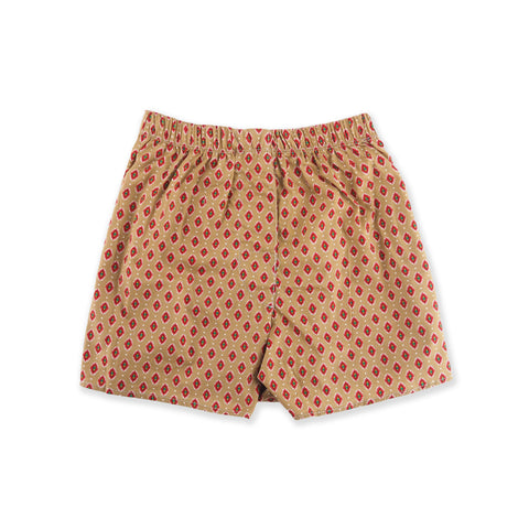 BROWN PATTERN BOX SHORTS