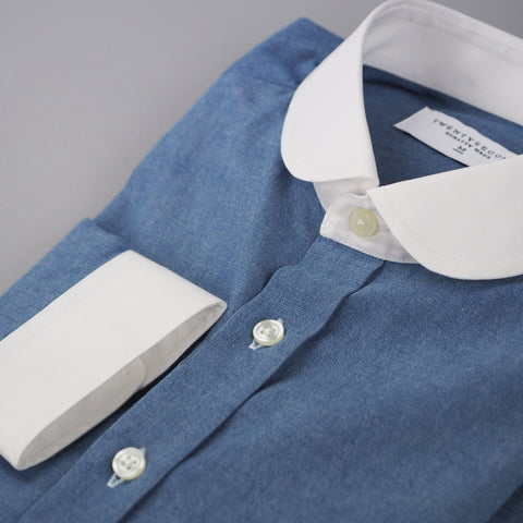 CHAMBRAY CLUB WHITE COLLAR
