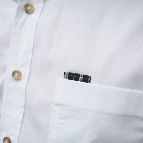 CLASSIC COTTON SHIRT WITH PLAID - WHITE