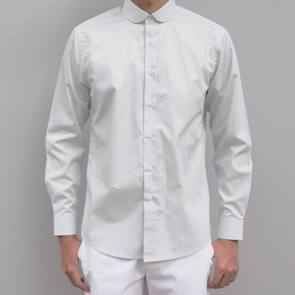 CLUB COLLAR WHITE COTTON SHIRT