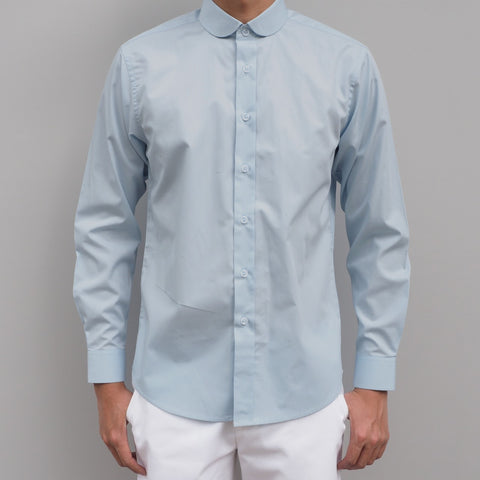 CLUB COLLAR BLUE COTTON SHIRT