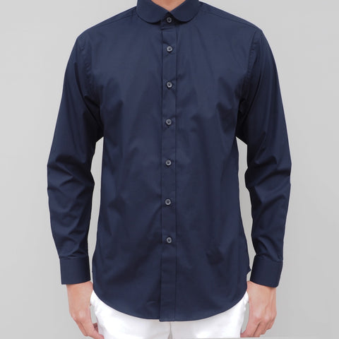 CLUB COLLAR NAVY COTTON SHIRT
