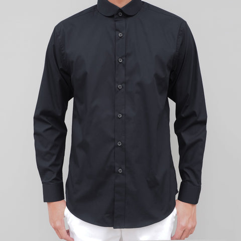 CLUB COLLAR BLACK COTTON SHIRT