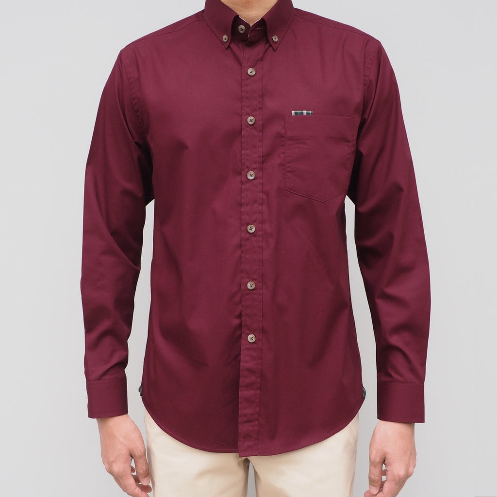 CLASSIC COTTON SHIRT WITH PLAID - MAROON