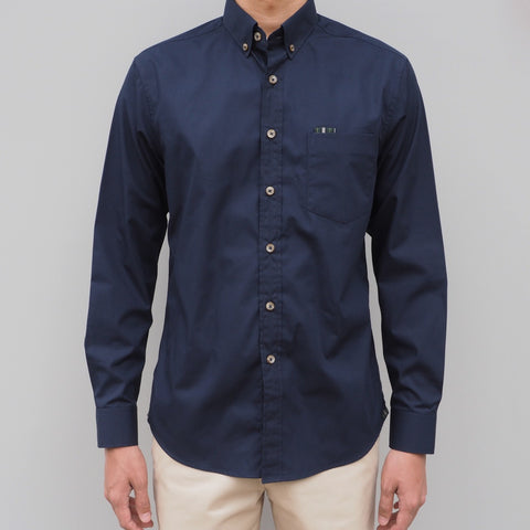 CLASSIC COTTON SHIRT WITH PLAID - NAVY