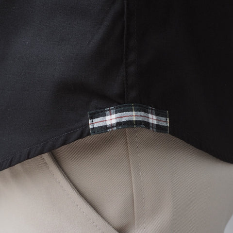 CLASSIC COTTON SHIRT WITH PLAID - BLACK