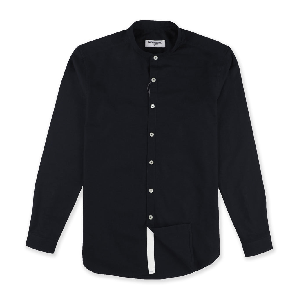 BLACK MINIMAL BAND COLLAR SHIRT
