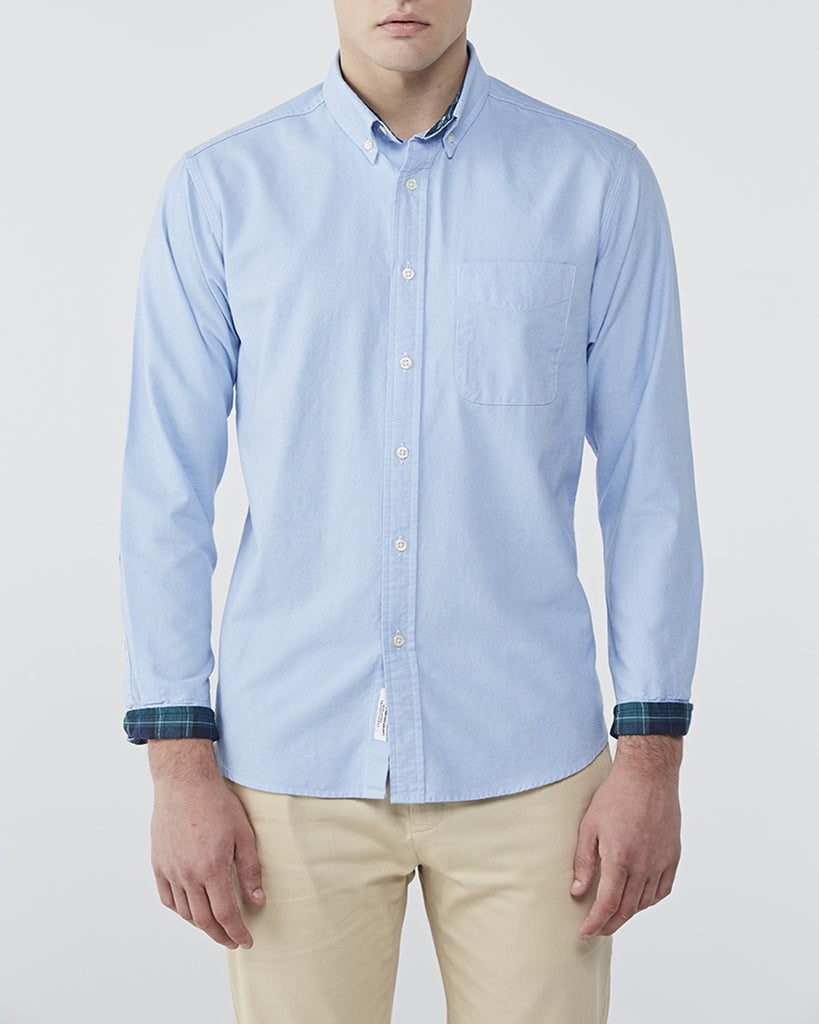 SKY BLUE OXFORD WITH PLAID COTTON TWILL