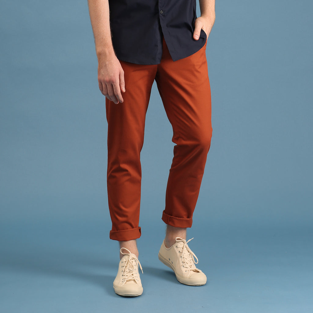 TAGGING CHINO PANTS-BRICK ORANGE