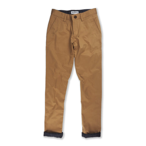 Gingham contrast chino pant : Golden Brown