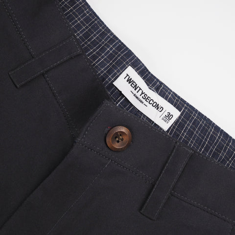 Gingham contrast chino pant : Charcoal grey