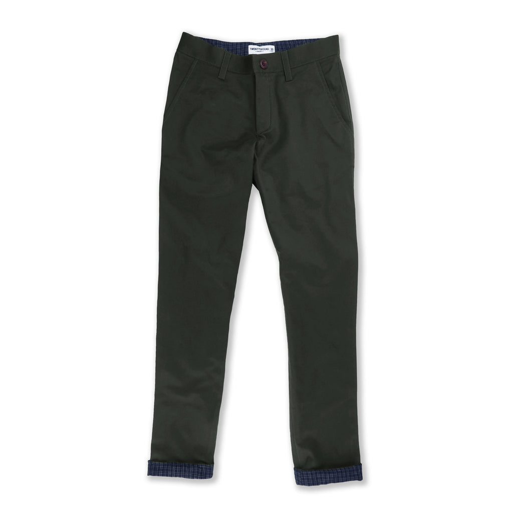 Gingham contrast chino pant : Olive