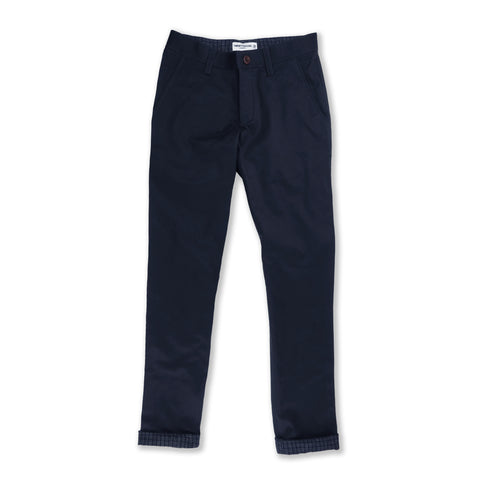 Gingham contrast chino pant : Navy