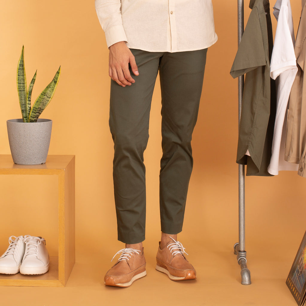 RUST CHINO PANTS-OLIVE