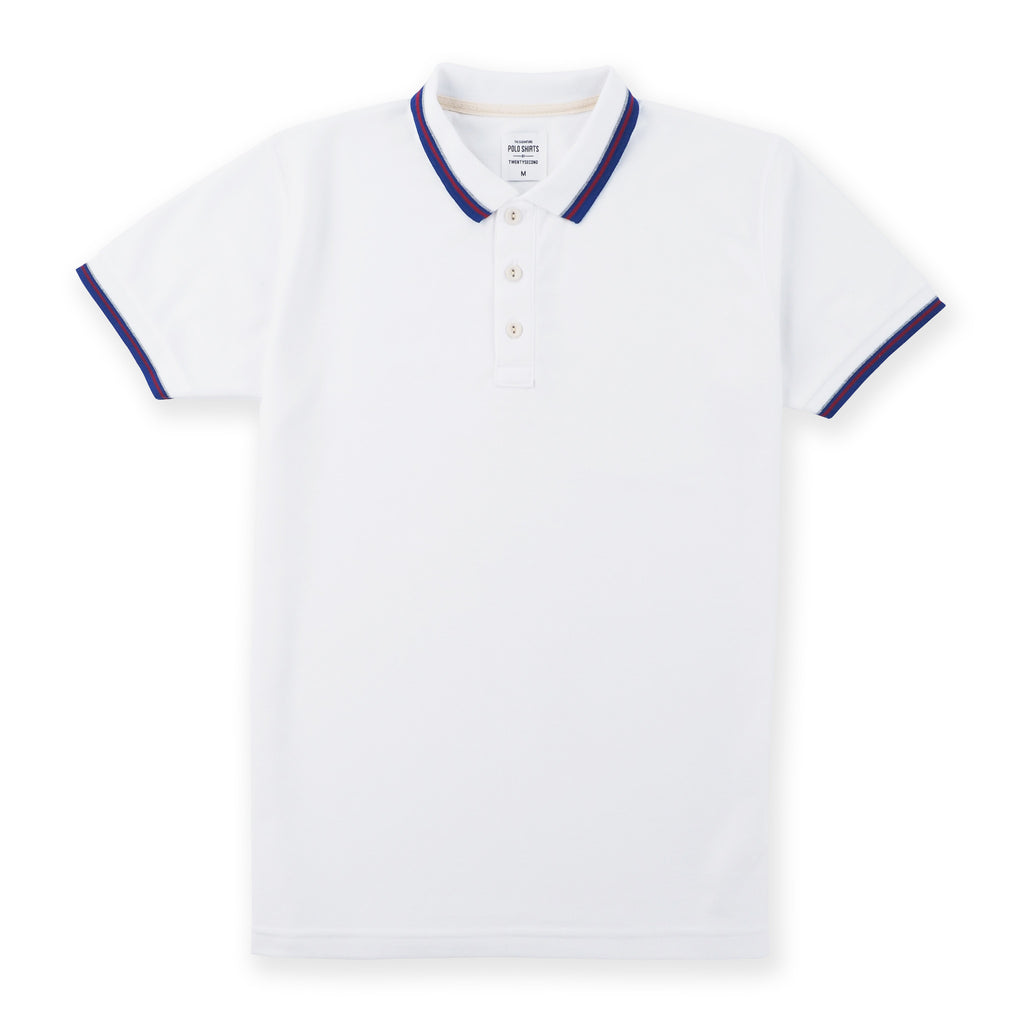 The Signature Polo tees-Flag White