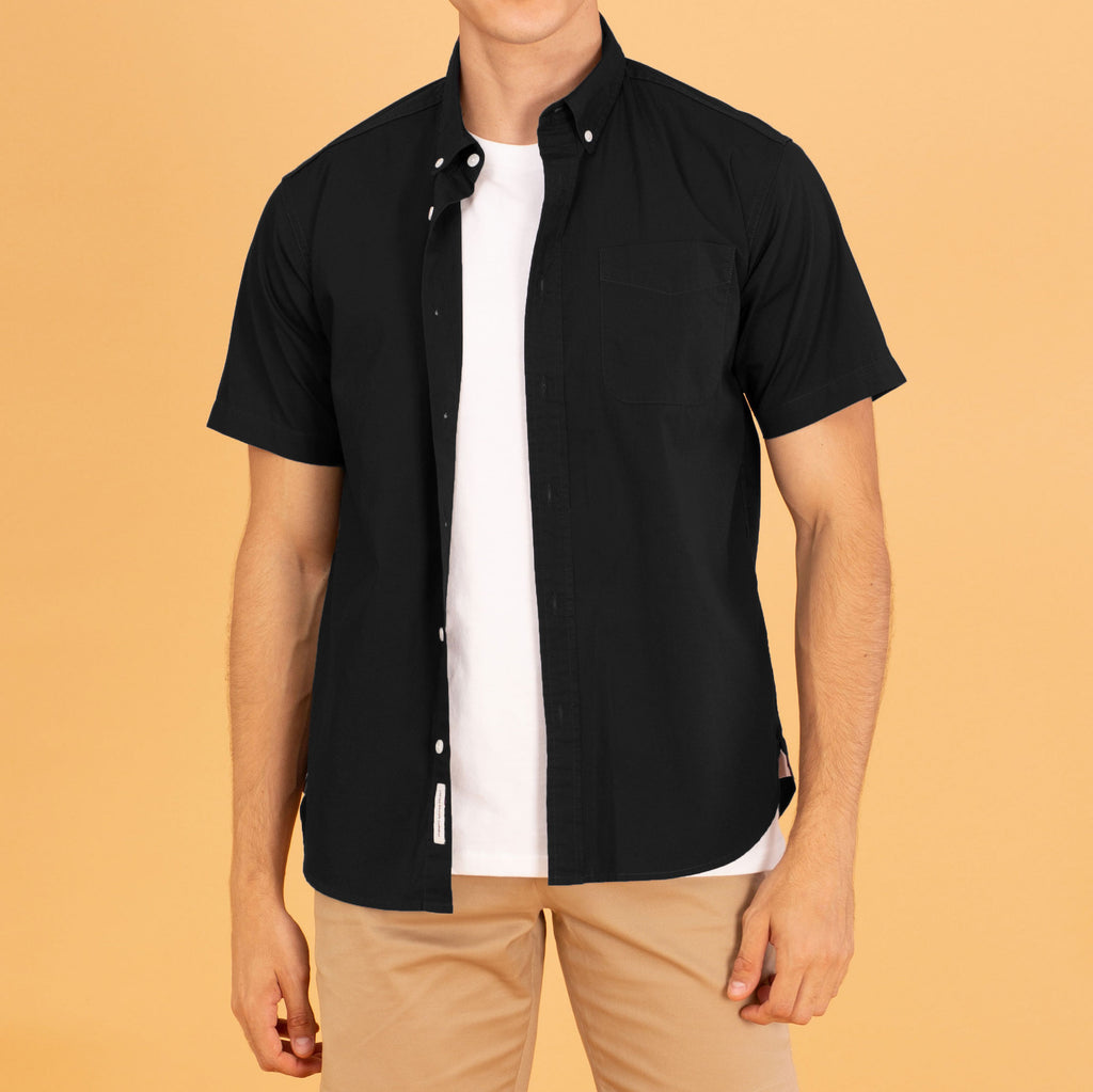 COTTON SHORT SLEEVES SHIRT - BLACK