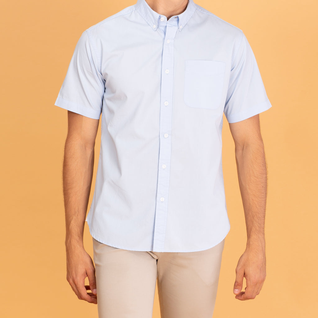 COTTON SHORT SLEEVES SHIRT - BLUE