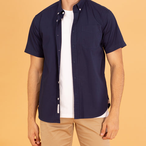 COTTON SHORT SLEEVES SHIRT - DARK BLUE
