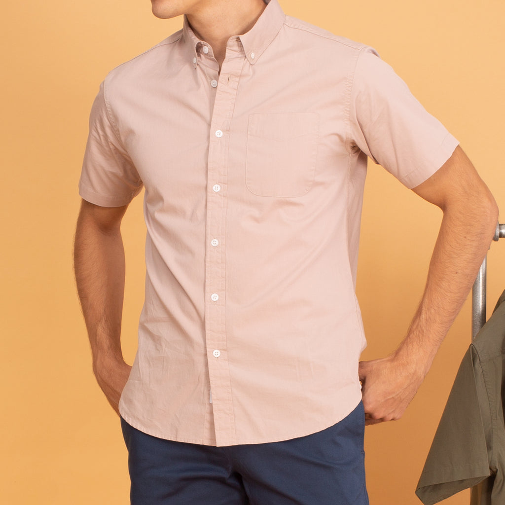 COTTON SHORT SLEEVES SHIRT - ALMOND