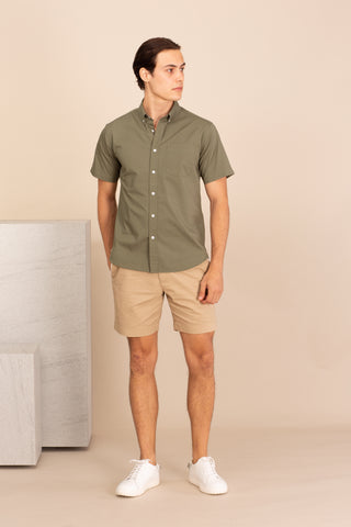 COTTON SHORT SLEEVES SHIRT - OLIVE