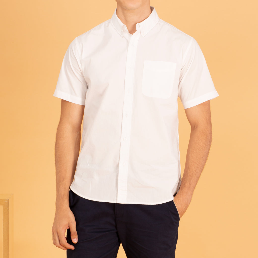 COTTON SHORT SLEEVES SHIRT - WHITE