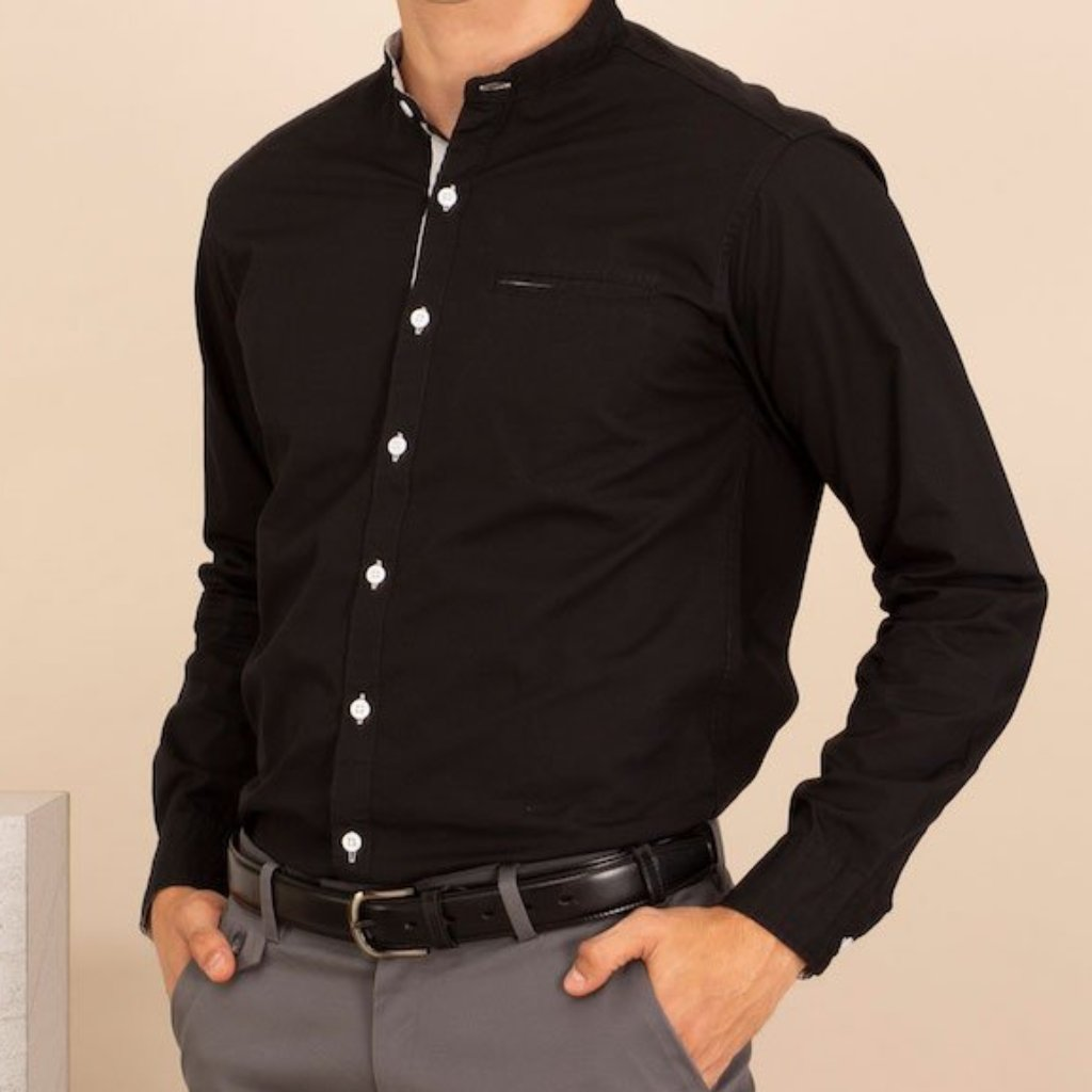 MINIMAL BAND COLLAR SHIRT - BLACK