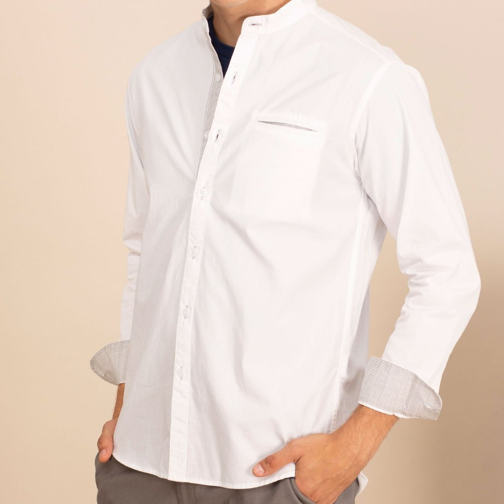 MINIMAL BAND COLLAR SHIRT - WHITE