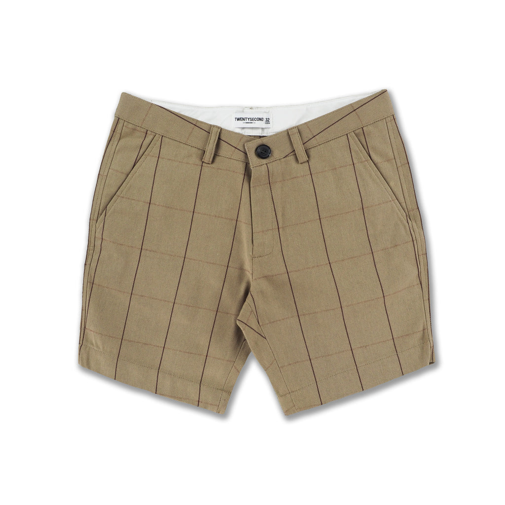 LATTE COTTON CANVAS PRINT SHORTS