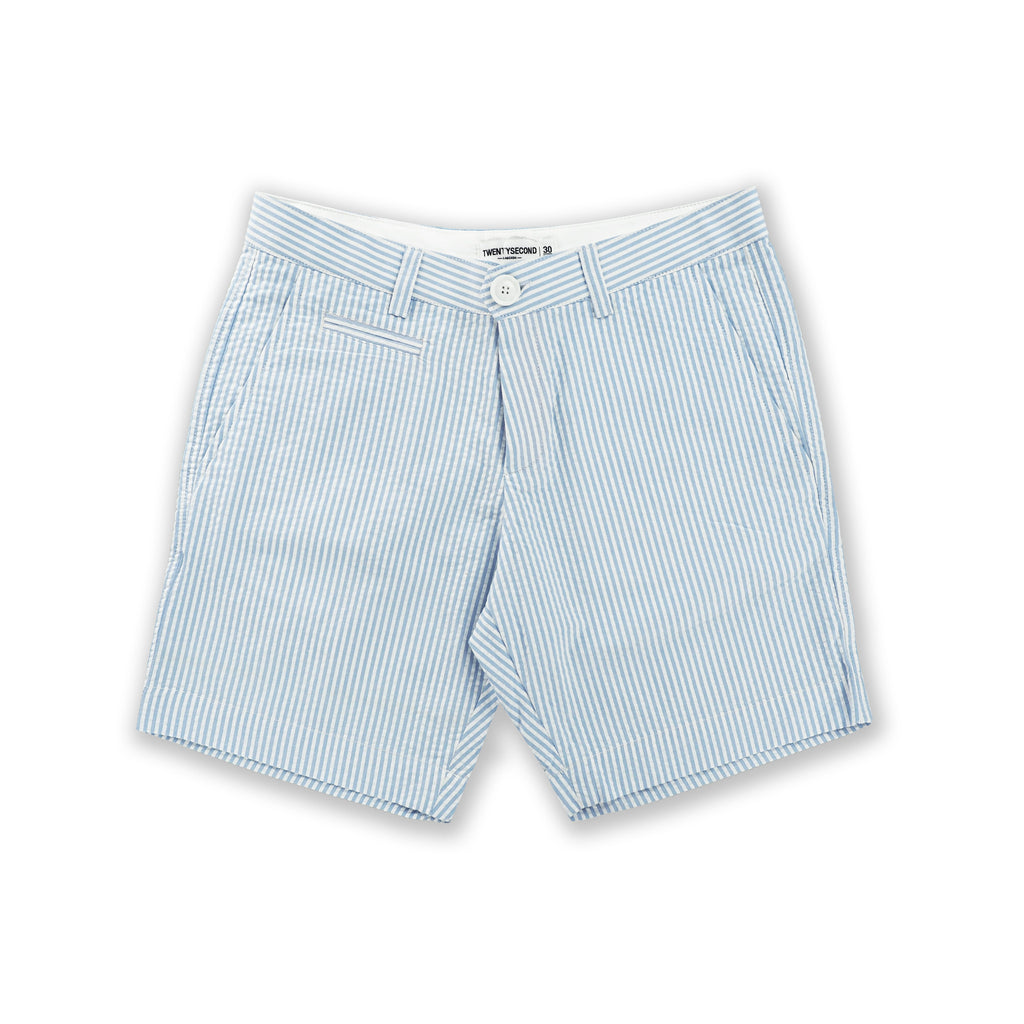 SEERSUCKER EXTRA SHORTS - BLUE