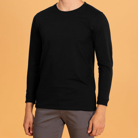 LONG SLEEVES CREW NECK : BLACK