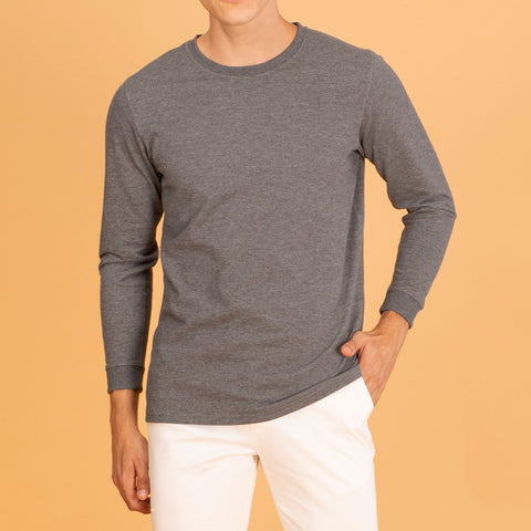 LONG SLEEVES CREW NECK : DARK GREY