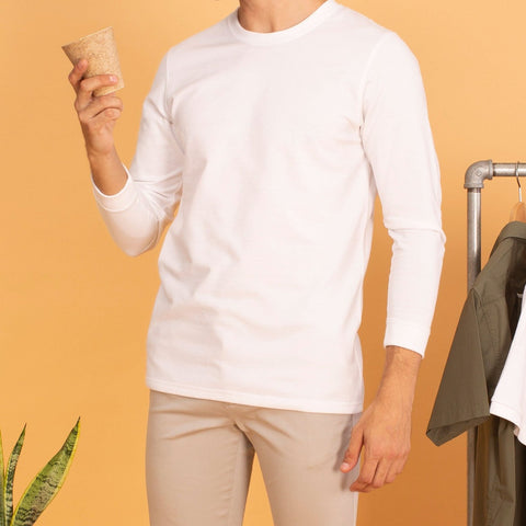 LONG SLEEVES CREW NECK : WHITE