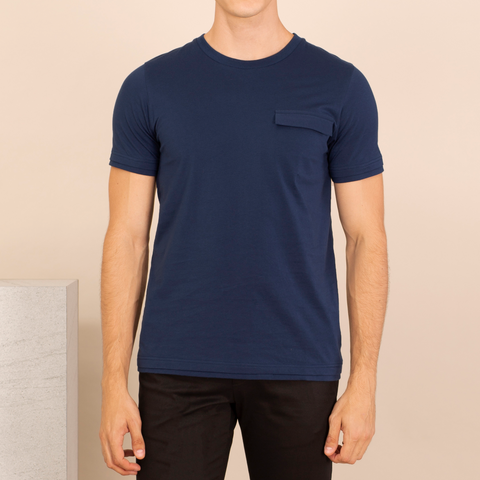 LAYER POCKET TEE - COBALT BLUE
