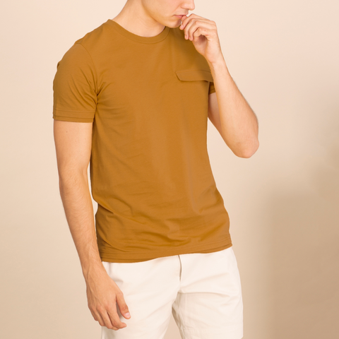 LAYER POCKET TEE - MUSTARD