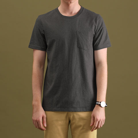CLASSIC POCKET TEES : DARK GREY