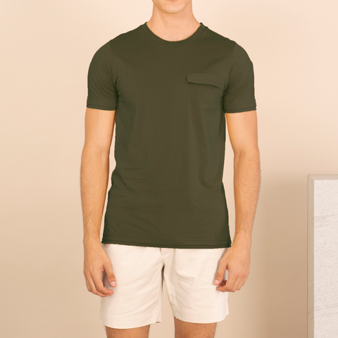 LAYER POCKET TEE : MILITARY GREEN