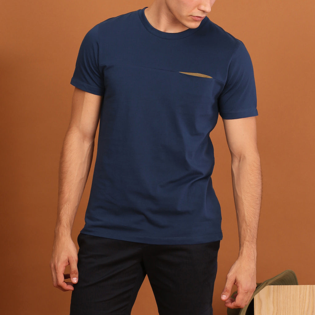 TWIST POCKET TEE - COBALT BLUE